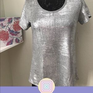 LuLaRoe sparkly silver classic T
